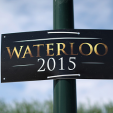 A sign leading to the re-enactments marking the 200th anniversary of the Battle of Waterloo in Belgium