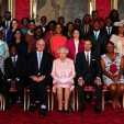 The Queen with some of the first Queen's Young Leaders; 22-06-2015