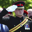 Prince Harry salutes during the service of dedication for the Bastion Memorial; 11-06-2015