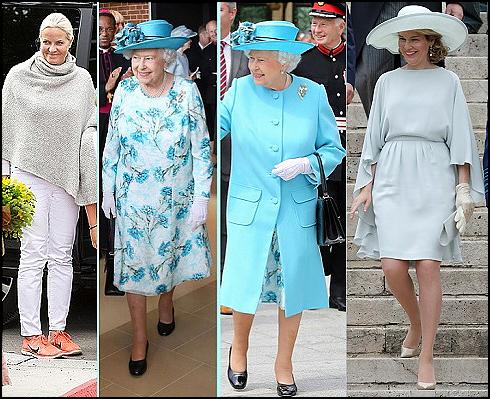 (L-R) Crown Princess Mette-Marit, Queen Elizabeth II, Queen Mathilde.