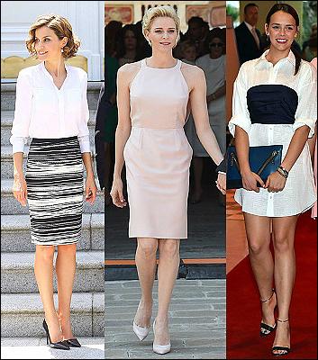 (L-R) Queen Letizia, Princess Charlene and Pauline Ducruet.