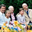 Members of the Danish Royal Family during the annual summer photo session at Graasten; 25-07-2015