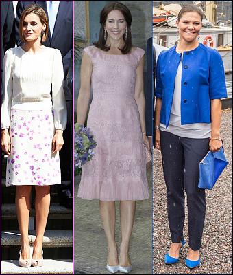 (L-R) Queen Letizia, Crown Princess Mary, Crown Princess Victoria.