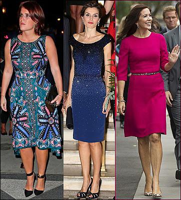 (L-R) Princess Eugenie, Queen Letizia, Crown Princess Mary.