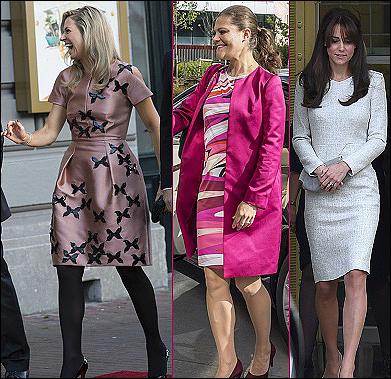(L-R) Queen Maxima, Crown Princess Victoria, The Duchess of Cambridge.