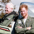 Prince Harry and Tom Neil at the Battle of Britain anniversary flypast; 15-09-2015