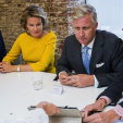 Queen Mathilde and King Philippe during their visit to Mediafin; 29-09-2015