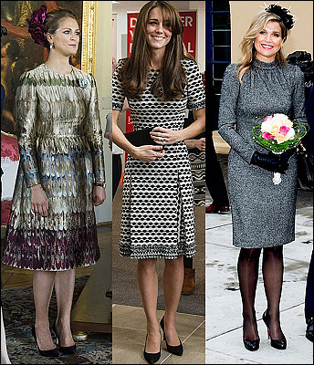 (L-R) Princess Madeleine, The Duchess of Cambridge and Queen Maxima.