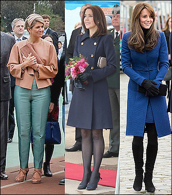 (L-R) Queen Maxima, Crown Princess Mary and The Duchess of Cambridge.