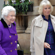 Queen Elizabeth and the Duchess of Cornwall attend a horse whispering demonstration at the Royal Mews; 21-10-2015