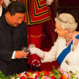 President Xi and Queen Elizabeth toast during the state banquet at Buckingham Palace; 20-10-2015