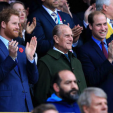 Prince Harry, Prince Philip and Prince William at the Australia v New Zealand match to decide the winner of the 2015 Rugby World Cup; 31-10-2015