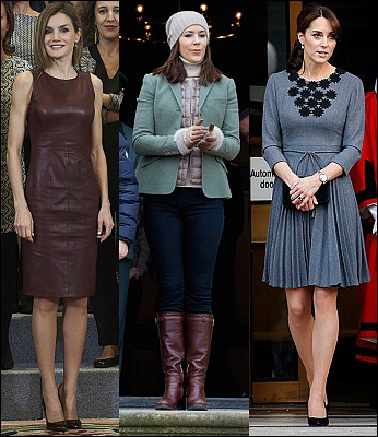 (L-R) Queen Letizia, Crown Princess Mary and The Duchess of Cambridge.