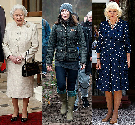 (L-R) Queen Elizabeth II, Crown Princess Mary and The Duchess of Cornwall.