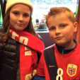 Princess Ingrid Alexandra and Prince Sverre Magnus at the UEFA Euro play-off match between Norway and Hungary; 12-11-2015