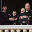 Princess Charlene, Princess Gabriella, Prince Jacques and Prince Albert during the 2015 National Day celebrations; 19-11-2015