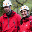 The Duke and Duchess of Cambridge after their shot at abseiling during a visit to North Wales; 20-11-2015