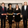 King Willem-Alexander with the winners of this year's Erasmus Prize; 25-11-2015