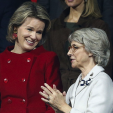 Queen Mathilde and the Duchess of Gloucester chat during the Davis Cup final in Ghent; 29-11-2015