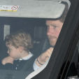 Prince George and Prince Harry as they arrive for the Queen's annual Christmas lunch; 16-12-2015