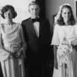 Queen Noor of Jordan with her parents, Doris and Najeeb, on her wedding day