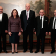 King Harald with representatives of the Tunisian National Dialogue Quartet during an audience ahead of the Nobel Peace Prize ceremony; 10-12-2015