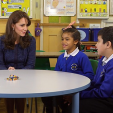 The Duchess of Cambridge speaks to children in a still from a video released to mark Children's Mental Health Week