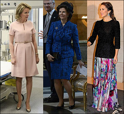 (L-R) Queen Mathilde, Queen Silvia and Crown Princess Mary