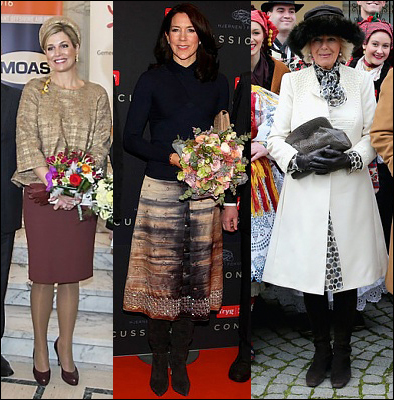 (L-R) Queen Maxima, Crown Princess Mary and The Duchess of Cornwall.