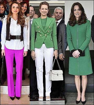 (L-R) Queen Rania, Lalla Salma and The Duchess of Cambridge.