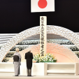 The Emperor and Empress at the memorial for the victims of the 2011 earthquake and tsunami disaster
