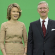 Queen Mathilde and King Philippe during their time on the green screen as they visit RTL; 17-03-2016