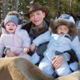 Princess Charlene with Jacques and Gabriella in Gstaad