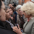 The Duchess of Cornwall speaks with family members of people that have been missing since the Kosovo war in 1999
