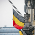 The Belgian flag flying at half-mast