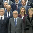 King Philippe and Queen Mathilde observe a minute's silence at the European Commission