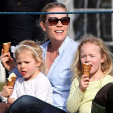Autumn Phillips and her daughters Savannah and Isla at the Gatcombe Horse Trials