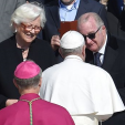 Queen Paola and King Albert with the Pope after Easter Sunday mass