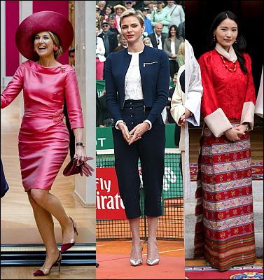 (L-R) Queen Maxima, Princess Charlene and  Princess Ashi Chimi Yangzom Wangchuck.