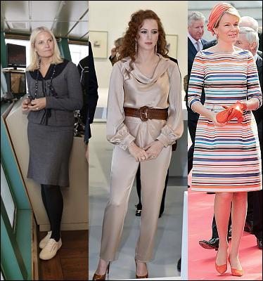 (L-R) Crown Princess Mette-Marit, Lalla Salma and Queen Mathilde.