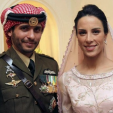 Prince Hamzah and Princess Basma on their wedding day