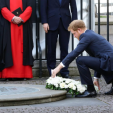 Prince Harry lays a wreath ahead of a memorial service for victims of last year's terror attack in Tunisia