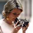 Queen Mathilde uses the Google Cardboard Viewer