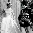 Princess Grace and Prince Rainier after their wedding ceremony