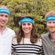 William, Kate and Harry wearing 'Heads Together' headbands upon the announcement of the new campaign to tackle mental health