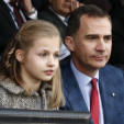 Princess Leonor and King Felipe attend the UEFA semi-final match