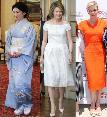 (L-R) Princess Kiko, Queen Mathilde and Princess Charlene.
