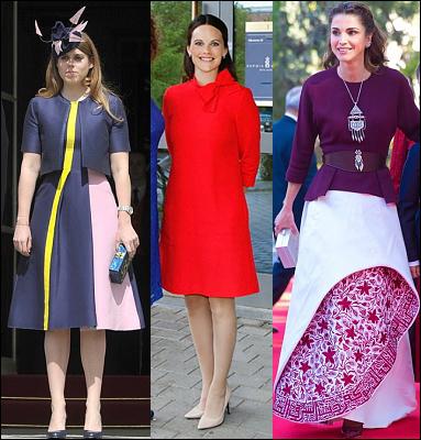 (L-R) Princess Beatrice, Princess Sofia and Queen Rania.