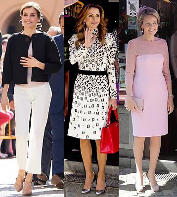 (L-R) Queen Letizia, Queen Rania and Queen Mathilde.