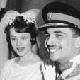 Princess Muna and King Hussein on their wedding day